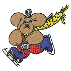 Bear Skating embroidery design