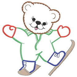Bear On Skis embroidery design