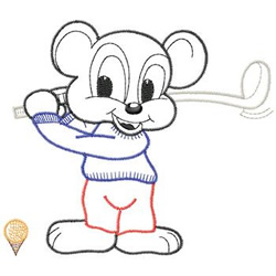 Mouse Golfing embroidery design