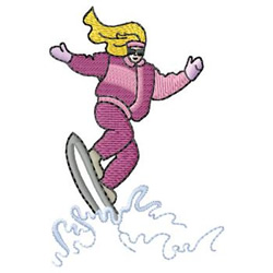 Female Snowboarder embroidery design