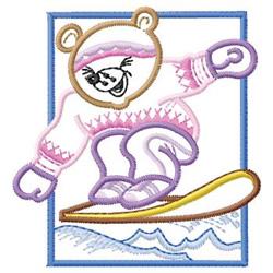 Bear Snowboarding embroidery design