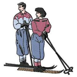 Skiing embroidery design