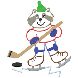 Hockey Racoon embroidery design