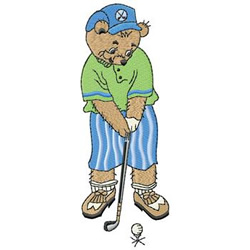 Golfer Bear embroidery design