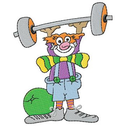 Weightlifting Clown embroidery design