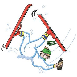 Skier Oops embroidery design