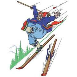 Skiing Oops embroidery design