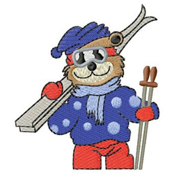 Skiing Bear embroidery design