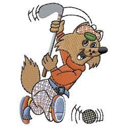 Golfing Fox embroidery design