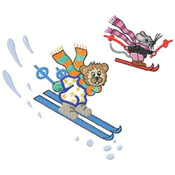Skiing Critters embroidery design