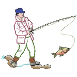Fishing embroidery design