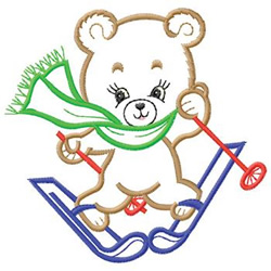 Bear Skiing embroidery design