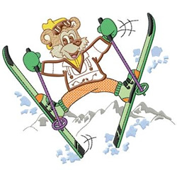 Bear Skier embroidery design