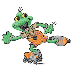Frog Skating embroidery design