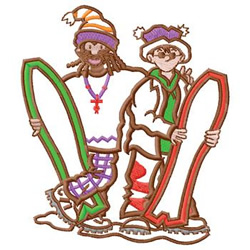 Snowboarders embroidery design