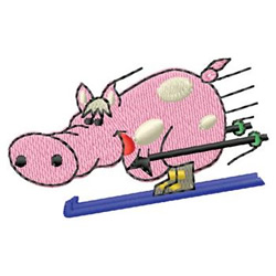 Pig Skiing embroidery design