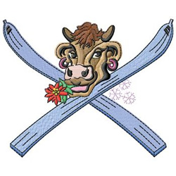 Skiing Cow embroidery design