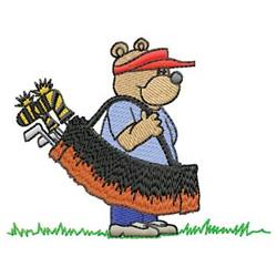 Bear Golfer embroidery design