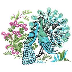 Peacocks embroidery design