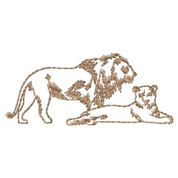 Lion and Lioness embroidery design