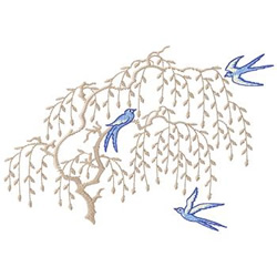 Bluebirds in Willow embroidery design