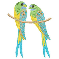 Parakeets embroidery design