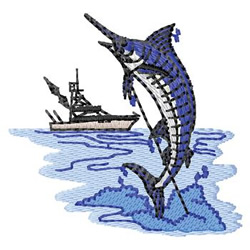 Marlin Fishing embroidery design