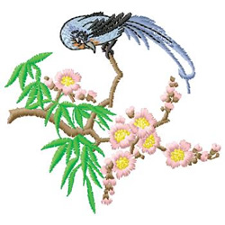 Bird and Flowers embroidery design