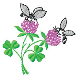 Bees In Clover embroidery design