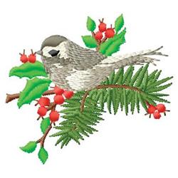 Bird in Winter embroidery design