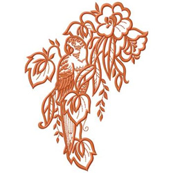 Tropical Bird and Flowers embroidery design
