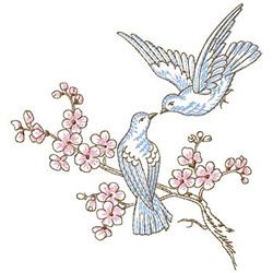 Doves in Cherry Tree embroidery design