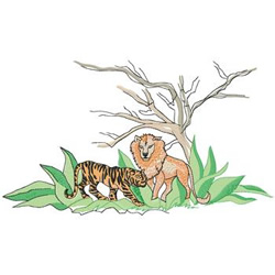 Lion And Tiger embroidery design