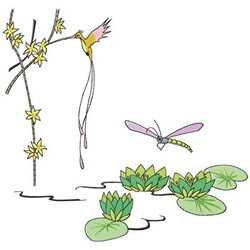Bird And Dragonfly embroidery design
