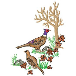 Pheasants embroidery design