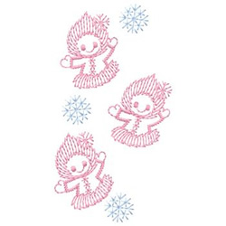 Girls With Snowflakes embroidery design