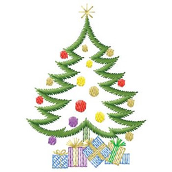 Tree With Gifts embroidery design