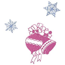 Bell And Snowflakes embroidery design