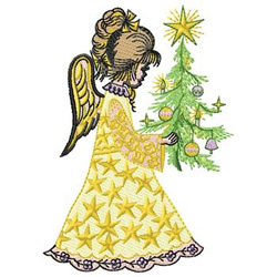 Angel With Tree embroidery design