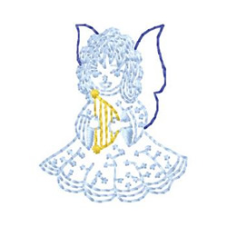 Angel With Harp embroidery design