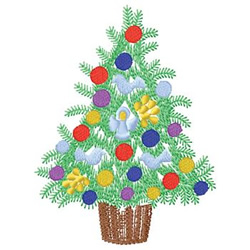Potted Christmas Tree embroidery design
