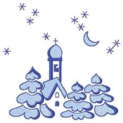Winter Church embroidery design