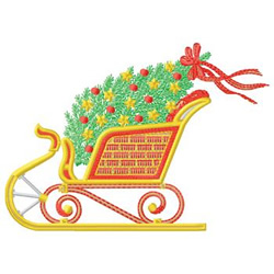 Sleigh And Tree embroidery design