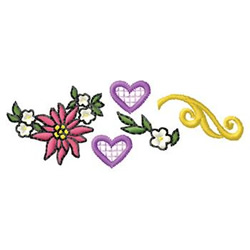 Poinsettia And Hearts embroidery design