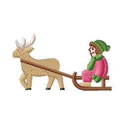 Reindeer Pulling Sled embroidery design