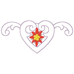 Poinsettia In Heart embroidery design