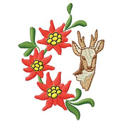 Poinsettia And Deer embroidery design