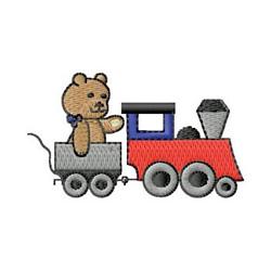 Bear On Train embroidery design