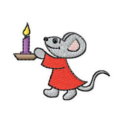 Mouse With Candle embroidery design