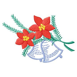 Bells  And Poinsettias embroidery design